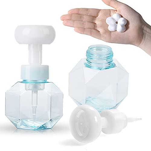 FORMIZON 2 Botellas Dispensador de Jabón Botella con Bomba, Rellenable Creativos Envase Dispensador Espuma Dispensador Jabón con Forma Flor, Botellas de Burbujas para Limpiador Baño Cocina (Azul)