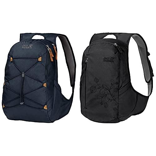 Jack Wolfskin Damen SAVONA bequemer Daypack, night blue, ONE SIZE & Ancona, komfortabler Tagesrucksack für Frauen, Damen Rucksack mit schlankem Schnitt, praktischer Backpack extra für Frauen
