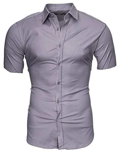 Kayhan Homme Chemise Manches Courtes, Caribic Ligth Grey(S)