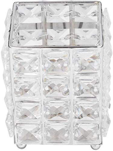 FülleMore Make-up Pinselhalter Bleistifthalter Hochzeit Weihnachten Kerzenhalter 12x10x10cm Kristall Kosmetik Aufbewahrungsbox Lippenstift Augenbrauenstift Behälter (Silber)