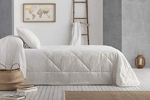 Burrito Blanco Conjunto de Colcha-Edredón 250x270 cm Acolchado Medio con 2 Fundas de Cojín/Colcha Boutí 415 con Diseño Ornamental y Liso en Color Crudo, Gris