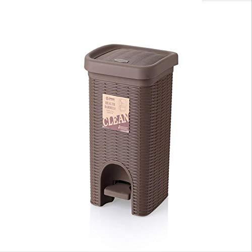 XZSH Haushaltskleinkaufhaus Trash Can Büro Ablagekorb Papierkorb Haushalt Fußbetätigte Rattan Abfalleimer (Color : S3)