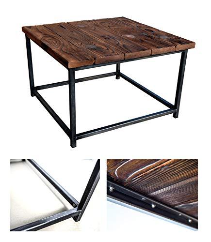 CHYRKA® Couchtisch Wohnzimmertisch SAMBOR Loft Vintage Bar Industrie Design Handmade Holz Metall (60x60 cm - Natur - Parallel)