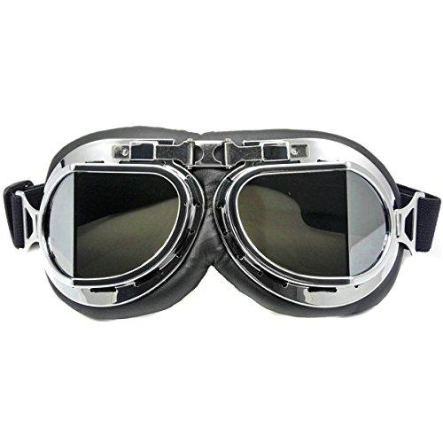 Nsstar - Occhiali da pilota della RAF per moto, scooter, motocross, protezione solare anti UV e anti vento, telaio cromato, Silver, Misura unica