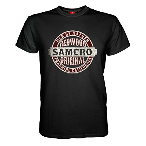 King of Merch - Herren T-Shirt - Sons of Anarchy Samcro Original Totenkopf Deadskull SOA Teller Morrow Jax Opie MC Motorrad Club Redwood California Tig Chibs Hells Angels Tara Knowles Schwarz S