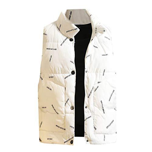 MAYOGO Herren Stepp Westen Daunen Weste Jacke Männer Camouflage Baumwolle Ärmellose Jacke Westejacke (Weiß, L)