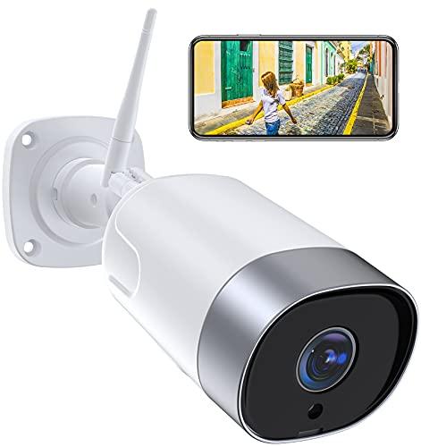 1080P Camara Vigilancia WiFi Exterior, SUPEREYE Cámara IP Seguridad con 5dBi Antena WiFi Cuerpo Metálico Visión Nocturna Audio de 2 Vías Impermeable IP66 Detección de Movimiento, Soporta Alexa Onvif