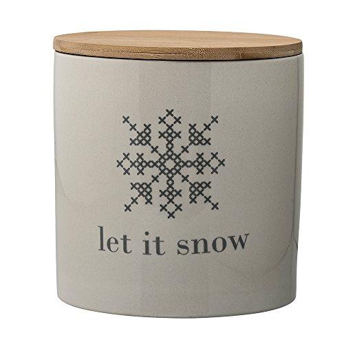 Bloomingville Cross Aufbewahrungsdose mit Deckel 'Let it Snow' grau/weiß