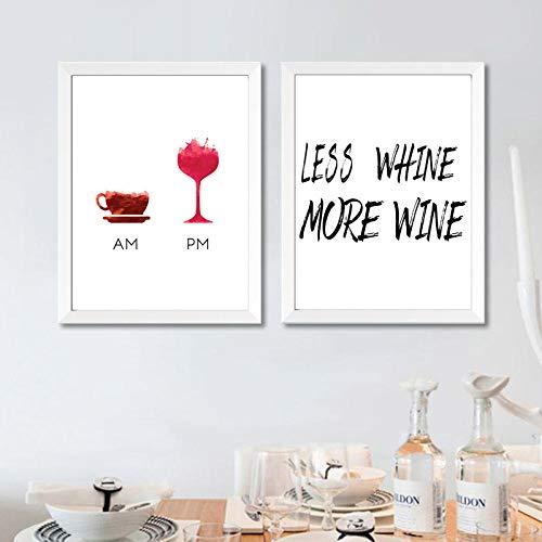 Cita divertida del vino Menos Whine Más cartel del vino Impresión del arte de la lona Humor Vino Cuadro de la pared Pintura de la lona Bar Art Decor 51x71cmx2 Sin marco