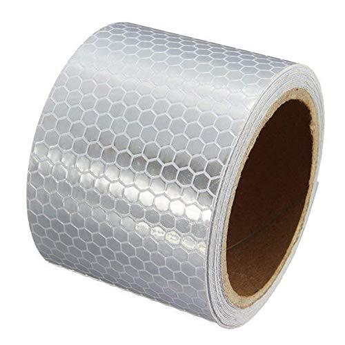 Cheng L Weiß Reflektierende Sicherheitswarnung Auffälligkeit Tape-Film-Aufkleber 5cm 3 m lang Band