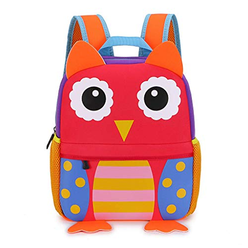 Kinderrucksack Süß Kindergartentasche mit Design Niedliche Tiere für Jungen Mädchen zum Vorschule Kindergarten Schule Reise 1-5 Jahre Eule