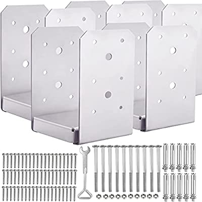 """SPACEUP Post Base 6""""x6"""" Post Anchor 5pcs Adjustable Post Base Stainless Steel Concrete Post Anchor for Pavilion Deck Railing Support Decorative Anchor Plate"""