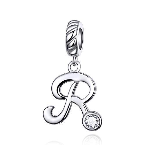 LaMenars - Abalorio colgante con letra del alfabeto, plata de ley 925, compatible con pulseras y collares Pandora, Chamilia y europeos