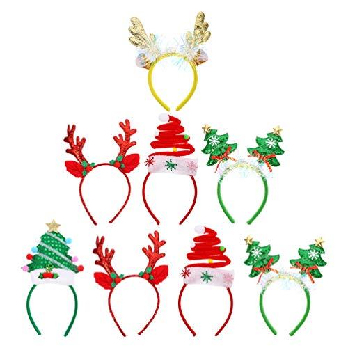 Beaupretty 8Pcs Weihnachten Rentier Geweih Stirnband Elch Santa Hut Weihnachtsbaum Kopfschmuck Haar Reifen Kopfstück Haarband Kopf Bopper Foto Requisiten für Urlaub Party Gunst
