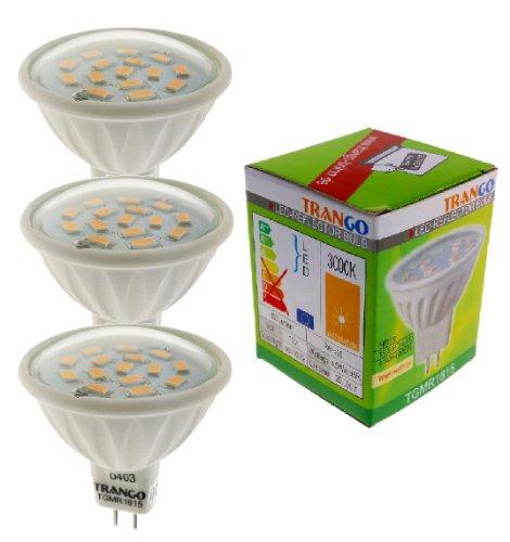 Trango Ensemble de 3 Ampoule LED 6 watts avec culot MR16 3TGMR1615 pour remplacement Ampoule halogène MR16 I GU5.3 I G4 Ampoule 12V 3000K blanc chaud, ampoule à réflecteur, ampoules à LED