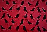 Polytex Jerseystoff Rot mit Vogeln