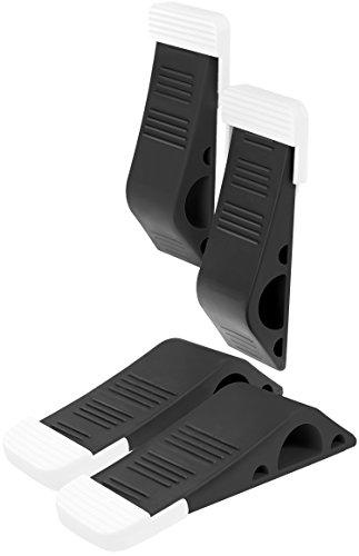 Stilemo Türstopper XXL für perfekten Halt – 4er Pack Türkeil mit Halterung – Stapelbarer Fensterstopper aus Gummi für Büro und Haushalt – Schwarz