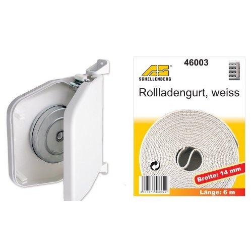 Schellenberg 50151 Aufschraubwickler aufklappbar Mini, weiß + Schellenberg 46003 Rollladengurt 14 mm/6.0 m, weiß