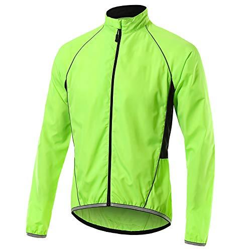 Beylore Fahrradjacke Damen Sommer Wasserdicht Atmungsaktiv Reflektierend Winddicht Lang Sportjacke Laufjacke Fahrradbekleidung,Grün,M