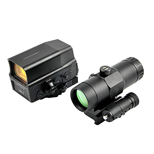 Optical UH1 Red Dot Sight Scope Reflex Sight + VMX-3T Sight 3X Magnifier with Flip Mount Holographic Sight (Color : Black)