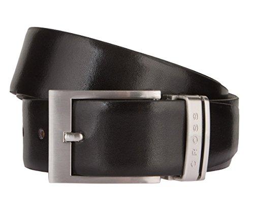 Cross Homme Business Ceinture en cuir ceinture réversible Noir Marron avec boucle ardillon – réglable individuellement - Noir - XL