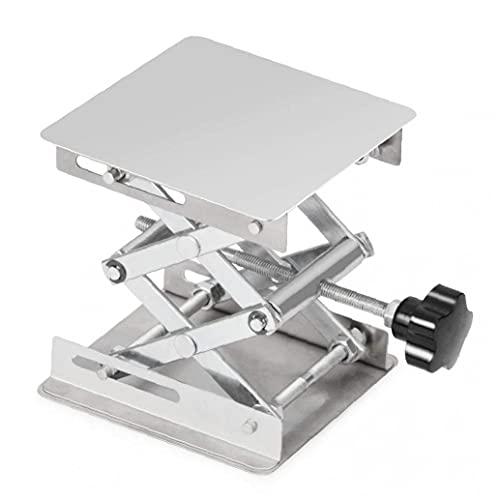 Laborschere Stand Edelstahl-Lift-Stand-Tabelle 100x100mm Holzbearbeitungs-Plattform Max Höhe 160mm Silber Werkzeuge & Zubehör