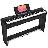 Donner DEP-20 Beginner Digital Piano 88 Key Full Size Weighted Keyboard, Portable Electric Piano with Furniture Stand, 3-Pedal Unit