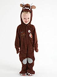 The Gruffalo Brown All In One Fancy Dress Costume Outfit World Book Day The hood forms the Gruffalo's head and the arms and feet have claws on them. It also comes with a removable tail. Please note that for dress up styles under 3 years the appearanc...