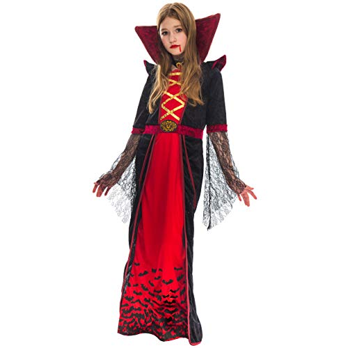 Royal Vampire Costume for Girls Deluxe Set Halloween Gothic Victorian Vampiress Queen Dress Up Party