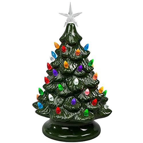 HOLIDAY PEAK Battery-Operated Vintage-Style Ceramic Christmas Tree, Nostalgic Holiday Décor, Green, 13' High