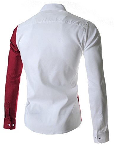 Retrograder Mens Fashion Designer Contrast Long Sleeve Slim Button Down Dress Shirt S035-RedWhite-L