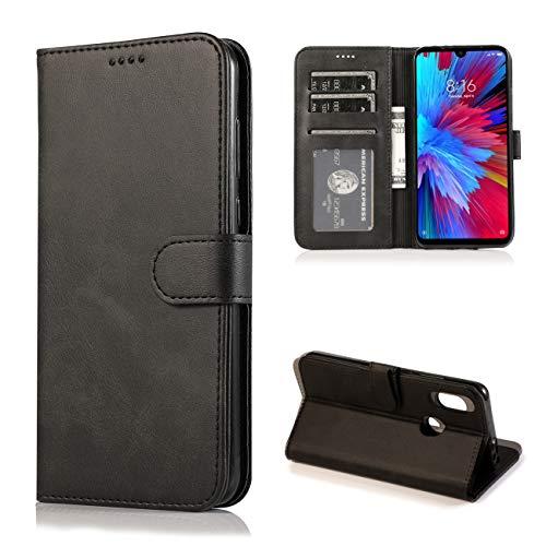 JOYTAG Kompatibel für Xiaomi Redmi Note 7 Hülle Flip Wallet Holster PU Lederhülle mit Kreditkarte Schlitz Unterstützung Weicher TPU Silikon Stoßstange Handyhülle-Schwarz