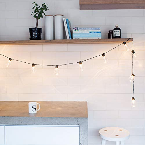 Lights4fun - Catena Luminosa di 20 Lampadine con LED Bianco Caldo a Pile per Interni