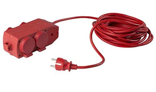 as - Schwabe 60612 4-voudige verdelercontactdoos, 10 m H05VV-F 3G1,5, rood, IP20 voor binnen