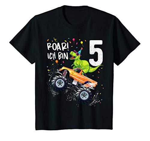 Kinder 5 Jahre Geburtstag Dinosaurier Monster Truck Jungen Mädchen T-Shirt