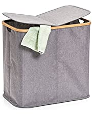Zeller 14233 - Cesto para la colada (2 compartimentos, poliéster y bambú, 53,4 x 33 x 50 cm), color gris