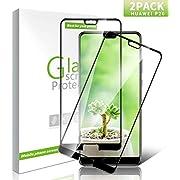 Youer Huawei P20 Panzerglas Schutzfolie, [2 stück] Premium Gehärtetem Glas Displayschutzfolie für Huawei P20, 9H Härte, Anti-Kratzer, Ultra-klar, Blasenfreie - Schwarz