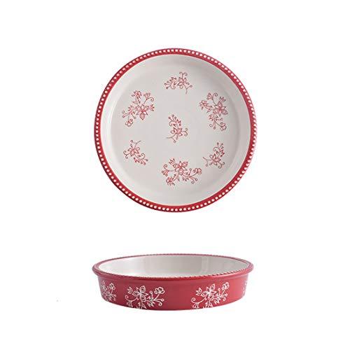 Molde de cerámica para tartas, 9 pulgadas resistente al calor, placa antiadherente para tartas con diseño de flores pintadas a mano, seguro para lavavajillas, microondas, hornos (rojo)