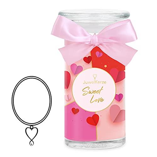 JuwelKerze Sweet Love große Duftkerze (Apfel, 1020g, 95-125 Std. Brenndauer) in Rosa mit 925er Sterling Silber Schmuck, Halskette