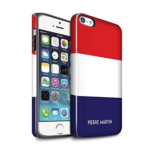 eSwish Personalisiert Individuell National Nation Flagge Glanz Zähen Hülle für Apple iPhone SE/Frankreich/Französisch Design/Initiale/Name/Text Stoßfest Schutzhülle/Case/Etui