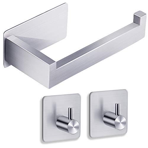 YIGII Autoadhesivo Portarrollos Papel Higienico con Ganchos Adhesivos (2 Piezas) para Baño, SUS 304 Acero Inoxidable