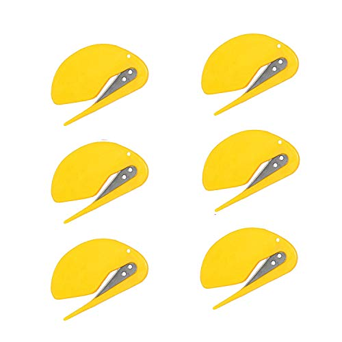 Letter Openers Plastic Envelope Slitter Razor Blade Paper Knife Open Letters Envelopes and Packages for Home Office 6pc Yellow  6pcs