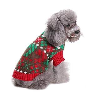 Zunea Petit Chien en Tricot Pull de Noël Père Noël Renne pour Animal Domestique Vêtements d'hiver Doux et Chaud Manteau Vintage Holiday Festive Apparel pour Chien Chat