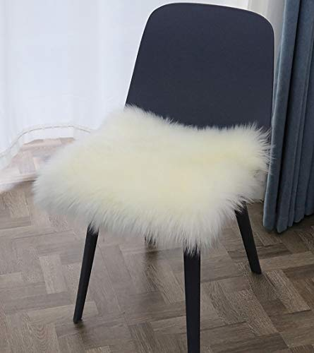 Fur Chair Cushion 20 x 20 inch, Square Fur Seat Cushion, Super Soft Faux Sheepskin Chair Cover Chair Seat Pad, White Fluffy Rug for Children's Room, Dog/Cat Bed Mat, Bedroom, Sofa and More