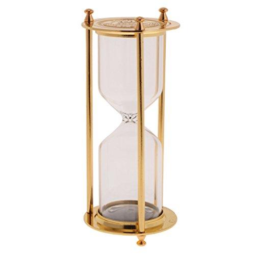 Fenteer Leere Sanduhr Stundenglas Sanduhren Eieruhr ohne Sand - 7 x 16 cm - Gold - S, 7 x 16 cm