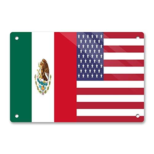 Patriotic Wall Art Metal Sign Farmhouse Home Kitchen Bedroom Dining Room Bathroom Decor 12x 8- Half Flag of Mexico & USA Flag