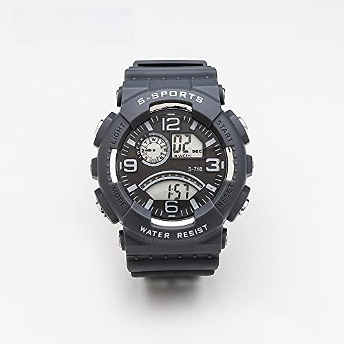 Reloj para Niño Youth Trend Unisex Sports Luminous Chronograph Reloj Electrónico Multifunción Gris