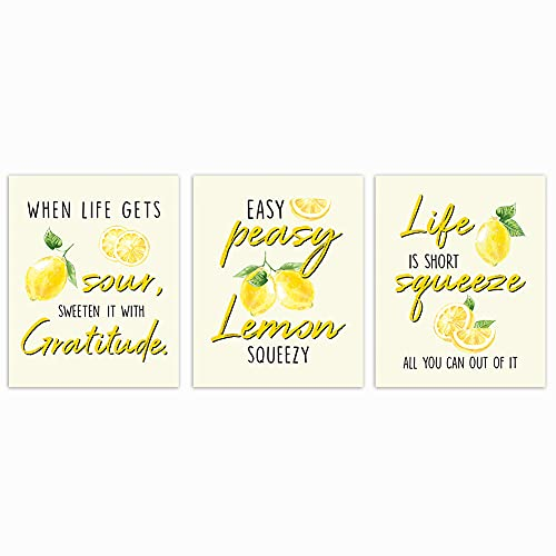 LHIUEM Inspirational Saying Art Print Typography Cardstock,Watercolor Lemon Sign Picture Motivational Quote Life Is Short Poster Artwork For Living Room Kitchen Wall Decor(set of 3,8''x 10''UNFRAMED)