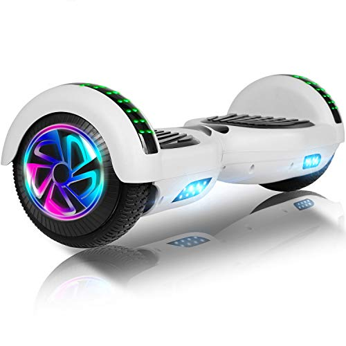 jolege Hoverboards Scooters eléctricos con Auto balanceo de 6.5'con luz LED Colorida y Altavoz Bluetooth Incorporado - Bolso de Transporte Gratuito Certificado por UL2272 y Cargador de Reino Unido