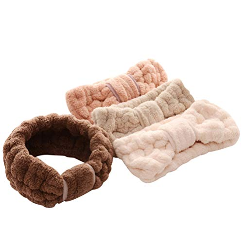 Beaupretty Coral Bowknot Headband Fleece Bow Turban Elastic Makeup Hairband Spa Facial Bath Hair Band 4Pcs